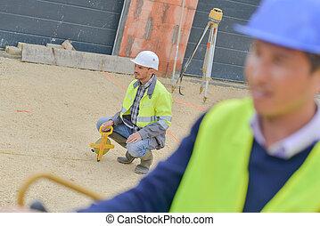 theodolite, constructeur, site, équipement, construction, dehors, transit