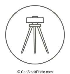 Theodolite on tripod line icon. - Theodolite on tripod line...