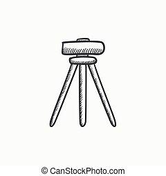 Theodolite on tripod sketch icon. - Theodolite on tripod...