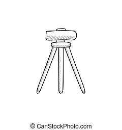 Theodolite on tripod sketch icon. - Theodolite on tripod...