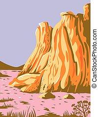 Theodore Roosevelt National Park in Western North Dakota WPA Poster Art