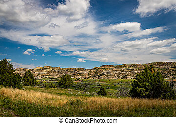 A panoramic view from the scenic drive at the North Unit of Theodore Roosevelt National Park in western North Dakota.