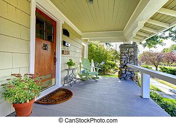 theold, vorhalle, stil, handwerker, front, bedeckt, home.