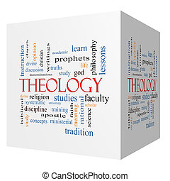 Theology 3D cube Word Cloud Concept with great terms such as...