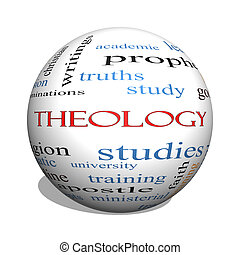 Theology 3D sphere Word Cloud Concept with great terms such...