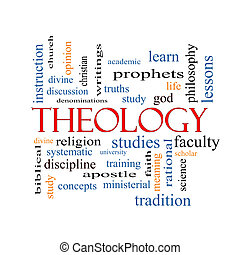 Theology Word Cloud Concept with great terms such as study,...
