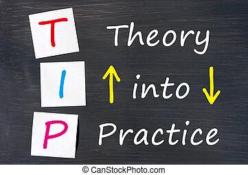 theorie, acroniem, bord, praktijk, fooi, geschreven