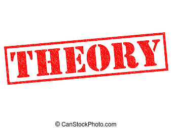 THEORY red Rubber Stamp over a white background.