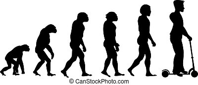 Theory evolution of human. From monkey to man on scooter .