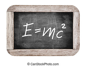 Theory of relativity by Albert Einsteins on blackboard