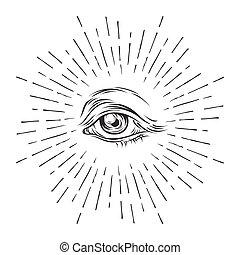 theory., ver, bosquejo, vector, ojo, illustration., masonic, order., todos, ocultismo, símbolo., hand-drawn, conspiración, providence., religión, espiritualidad, mundo, grunge, nuevo, alquimia, eye.