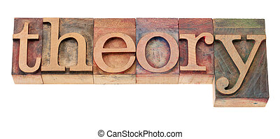 theory word in vintage wooden letterpress printing blocks, stained by color inks, isolated on white