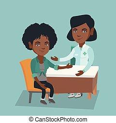therapeut, beraten, patient., afrikanisch, doktor