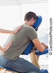 therapeut, geben, zurück, klinikum, mann, massage