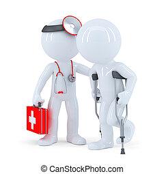 therapeut, mit, stethoskop, hilft, a, besetzen stützen