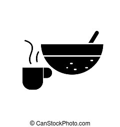 Therapeutic drink black icon, vector sign on isolated background. Therapeutic drink concept symbol, illustration