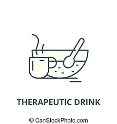 Therapeutic drink vector line icon, linear concept, outline sign, symbol