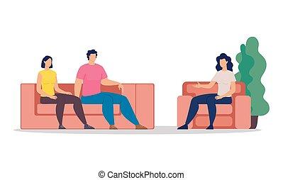 therapie, begriff, familie, vektor, wohnung, psychologisch