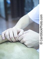 therapie, fysiotherapie, lichamelijk, patiënt, hand