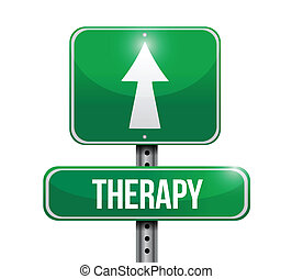 therapie, ontwerp, straat, illustratie, meldingsbord