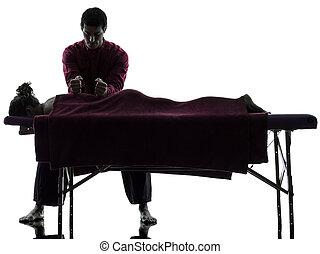 therapie, rückenmassage