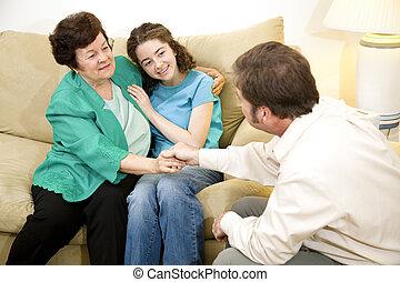 therapie, resultaat, -, gezin, positief