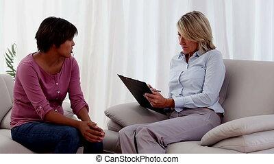 therapist, aantekeningen nemd