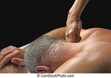 Therapist applying pressure