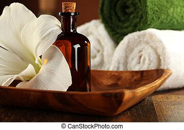 therapist, aromatherapy olie, -, masseren