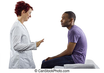Therapist fixing posture