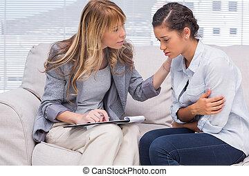 therapist, het troosten, een, patiënt