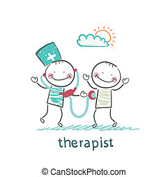 therapist listens to a stethoscope patient