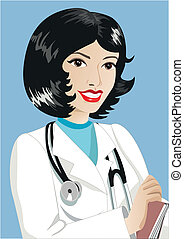 Therapist. Medicine. - Woman therapist with a stethoscope...