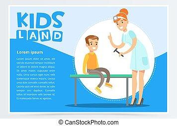 Therapist neurologist with a hammer. - Female pediatrician...