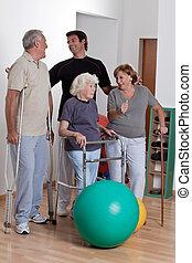 therapist, patiënt, mannelijke , lichamelijk