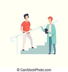 therapist, patiënt, trap, werkende , medische illustratie, vector, therapie, activiteit, beklimming, rehabilitatie, mannelijke , lichamelijk