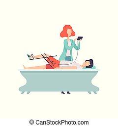 therapist, patiënt, werkende , medische apparatuur, invalide, vector, therapie, illustratie, activiteit, rehabilitatie, lichamelijk, orthosis