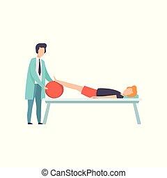 therapist, patiënt, werkende , medische illustratie, invalide, vector, bankstel, activiteit, therapie, rehabilitatie, het liggen, lichamelijk