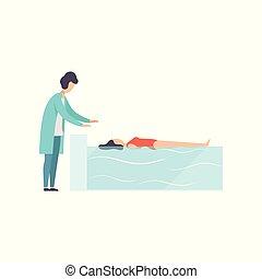 therapist, patiënt, werkende , pool, medische illustratie, invalide, vector, therapie, vrouwlijk, activiteit, rehabilitatie, zwemmen, het liggen, lichamelijk