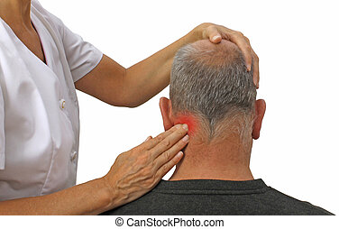 Therapist relieving pain in neck