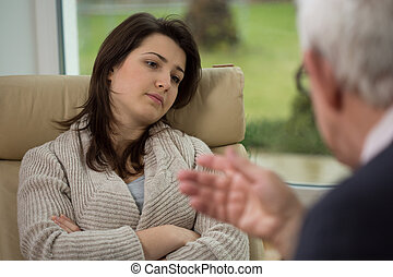 Therapist talk to his patient - Therapist talk to his young...