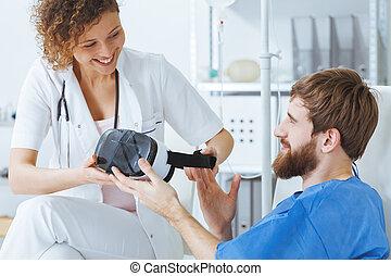 Therapist using virtual technology