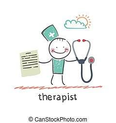 therapist with a folder and stethoscope. Fun cartoon style...