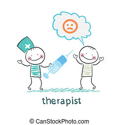 therapist with syringe is looking at the patient's