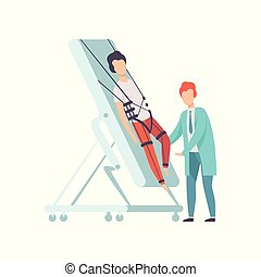 Therapist working with disabled male patient using special equipment, recovery after trauma, medical rehabilitation, physical therapy activity vector Illustration