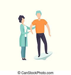 Therapist working with disabled patient using special equipment, recovery after trauma, medical rehabilitation, physical therapy activity vector Illustration
