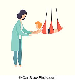 Therapist working with little patient using special equipment, recovery after trauma, medical rehabilitation, physical therapy activity vector Illustration