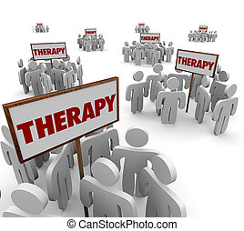 Therapy Group Session People Gathered Meeting Around Signs