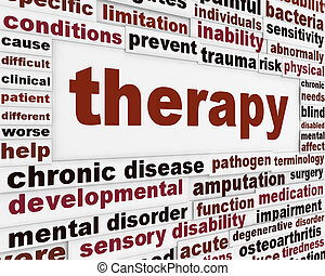 Therapy medical creative background. Rehabilitation message...