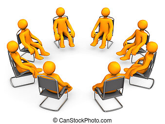 Therapy - Orange cartoon seats on chairs. White background.